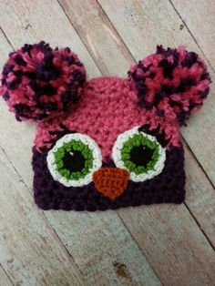 Pom pom owl hat...winter hat by FourAnnaWithLove on Etsy, $16.00 Pom Pom Owl, Owl Hat, Photo Accessories, Crochet Earrings, Winter Hats, Trending Outfits, Unique Jewelry, Handmade Gifts, Anna