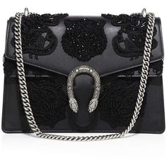 Gucci Dionysus Medium Embroidered Leather Shoulder Bag (49155 MAD) ❤ liked on Polyvore featuring bags, handbags, shoulder bags, bolsas, gucci, black, apparel & accessories, gucci handbags, leather purses and sequin handbags