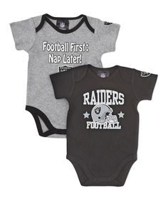 Black   Silver Oakland Raiders Bodysuit Set - Infant d6b218819