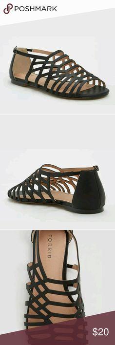 Black gladiator sandals Maltese Crabs cage faux leather Torrid Shoes Sandals