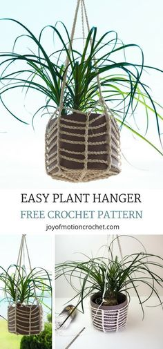 FREE easy Plant Hanger crochet pattern for your plants. Learn how to make a crocheted plant hanger. Easy crochet tutorial for beginners. Use pots or mason jars. Free crochet pattern with step by step pictures. #crochet #crochetpattern #crocheting #planthanger