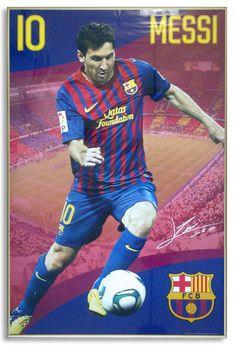 Lionel Messi - plakat oprawiony w złotą aluminiową ramę.