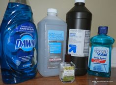 Home Made Daily Shower Spray: 1/2 cup hydrogen peroxide, 1/2 cup rubbing alcohol, 2 teaspoons Dawn Dishwashing Detergent, 2 teaspoons Jet Dry, 1 1/2 cups water (other recipes use up to 3 cups water), 3 drops tea tree oil. Combine all ingredients in a spray bottle and shake. Spray this daily after your shower to make your general shower cleaning a breeze.
