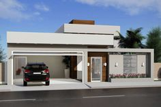 House Plan with 3 Bedrooms and Pool - House Projects, House Models and F . - Home Projects - Fachadas Classic House Design, Small House Design, Modern House Design, My House Plans, House Floor Plans, Front Wall Design, Modern House Facades, Bungalow House Design, Facade House