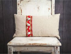 Natural LInen Pillow cover with Plaid ribbon by larksongcreations