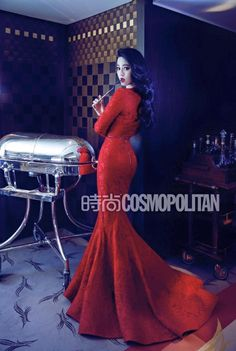 Fan Bingbing by Chen Man for Cosmopolitan China August 2015 22ed Anniversary Issue - Elie Saab gown