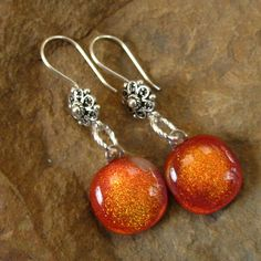 Dichroic French Hook Earrings Fused Dichroic Glass by GlassCat, $25.00