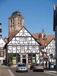"""""""She finally allowed herself the luxury of a proper clean up in the public bathroom at the station, then caught the next train to Bad Hersfeld, after which her German money ran out. Bad Homburg, Public Bathrooms, Kirchen, Historic Homes, Big Ben, Architecture Design, Luxury, Building, Travel"""