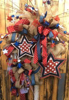 Large 4th of july wreath Americana Wreath Burlap USA by Keleas