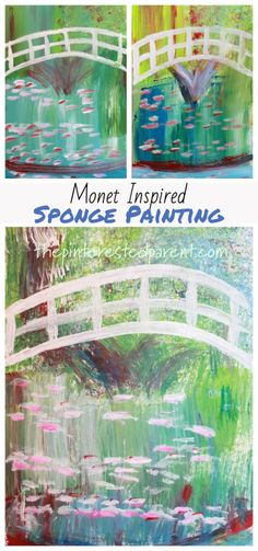 Bridge Over A Pond Of Water Lilies inspired impressionism art for kids. Artist inspired arts and crafts ideas Source by Water Lilies Painting, Monet Water Lilies, Lily Painting, Sponge Painting, Painting For Kids, Drawing For Kids, Painting Art, Art Lessons For Kids, Artists For Kids