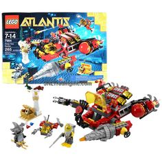Lego Year 2011 Atlantis Series 8 Inch Long Vehicle Set #7984 - DEEP SEA RAIDER with Opening Cockpit, Grabber and Functioning Drill Plus Mini Sub, Flexible Falling Pillar, Lobster, Treasure Chest with Jewels, Body Armor, Diver and Hammerhead Guardian Minifigures (Total Pieces: 265)