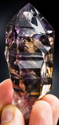 Amazing Gem Smoky Amethyst Crystal with bubbles, Namibia