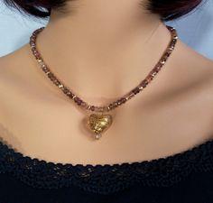 Pink Tourmaline Pendant Necklace with Gold Foil Venetian Glass Heart, Handmade