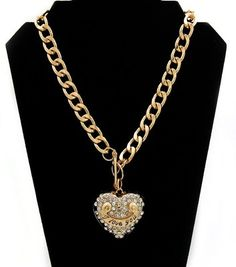 Gold Heart I Love You Medallion Statement Chain Pendant Shiny Rhinestone Link Necklace