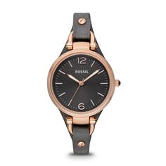 Fossil Georgia Three Hand Leather Watch - Smoke and Rose