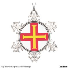 Flag of Guernsey Pewter Snowflake Decoration