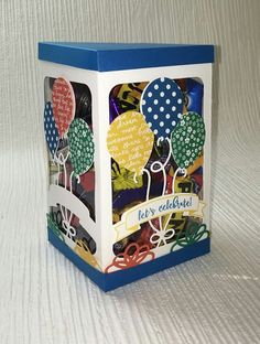 Becky Roberts takes the Balloon Pop up thinlets dies to a whole new level with this fabulous box.  I can't wait to try it!