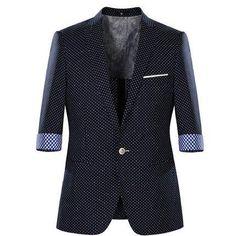 2015 Autumn Men's Polka Dot Half Sleeve Causal Blazers Coat Fashion Mens Single Button Suits Coat Male Casual Outwear H4023