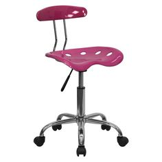 Flash Furniture Computer Task Chair with Tractor Seat and Chrome Base Pink - LF-214-PINK-GG