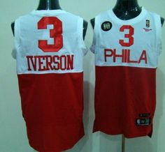 Philadelphia Sixers  3 IVERSON White With Red 10TH Patch Jersey Red Reebok 00d88e094b5