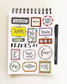 Headers are an understated, yet huge part of bullet journaling. Check out these amazing bullet journal header ideas organized by month. Bullet Journal Headers, Bullet Journal Tracker, Bullet Journal Spread, Bullet Journal Layout, Bullet Journal Inspiration, Bullet Journal Frames, Bullet Journals, Journal Ideas, Doodles