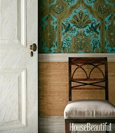I absolutely Love the turquoise wallpaper w the grasscloth.