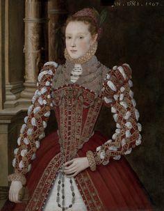 1567 Unknown artist, formerly attr. to Steven van der Meulen - Portrait of a Young Woman (Yale Center for British Art) Renaissance Mode, Renaissance Costume, Renaissance Clothing, Renaissance Fashion, Elizabethan Fashion, Tudor Fashion, Elizabethan Era, Historical Costume, Historical Clothing
