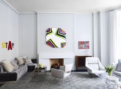 Artsy Gray Living Room  - ELLEDecor.com