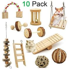 ZALALOVA Hamster Chew Toys, 10 Pack Natural Wooden Pine Guinea Pigs Rats Chinchillas Toys Accessories Dumbells Exercise Bell Roller Teeth Care Molar Toy for Birds Bunny Rabbits Gerbils Hamster Diy Cage, Diy Hamster Toys, Hamster Care, Pet Cage, Syrian Hamster Toys, Diy Rat Toys, Diy Guinea Pig Toys, Pet Guinea Pigs, Hamster Kawaii