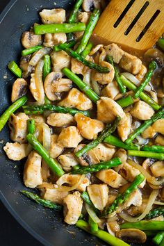 "Ginger Chicken Stir-Fry with Aspargus - Cooking Classy ** Use coconut oil, coconut aminos, and arrowroot*** Serve with cauliflower ""rice"""