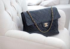 black leather shoulder #bag :: #Chanel