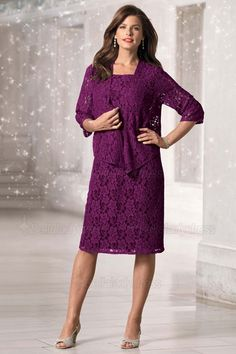 Wedding Party Dress Mother Of The Bride Dresses length Purple Short Mother Of The Bride Dress With Jacket Preventing Hairs From Graying And Helpful To Retain Complexion 2019 New Arrival Sweetheart Knee