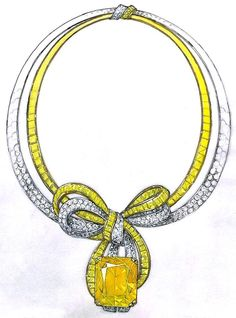Gregory David Coster - Jewels Designer - fine jewelry period -Designs for a Yellow SapphireNecklace (emerald cut Yellow Sapphire pendant weighing 127cts)and Earringsen suite