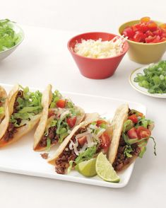 """Aunt Coleen's Tacos Sarah Carey, editor of Everyday Food, says, """"Add a teaspoon of sugar to the filling if you like a hint of sweetness (I do about half the time). Making your own shells is easy, but you could also buy them. Healthy Dinner Recipes, Mexican Food Recipes, Beef Recipes, Healthy Snacks, Healthy Eating, Ethnic Recipes, Kid Recipes, Healthy Mind, Sarah Carey"""