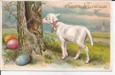 postcard vintage antique EASTER embossed Rabbit, Sheep, colored Eggs 1911
