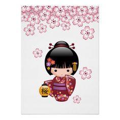 SOLD! To a customer in France. Sakura Kokeshi Doll Print $19.70 #cute #kawaii #kokeshi