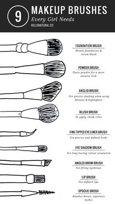 9 Essential Makeup Brushes | HelloNatural.co