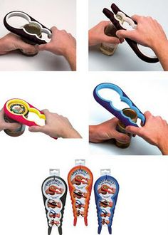 Easy Twist Jar Opener: Simply select the appropriate opening size, grip firmly and twist. This cool tool opens any size jar effortlessly.
