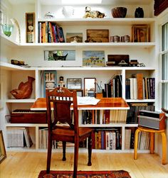 Shelving and integrated desk