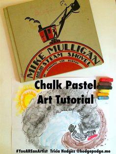 Art and literature with a Mike Mulligan Chalk Pastel Art Tutorial for all ages. A wonderful combination of art and literature! Chalk Pastel Art, Chalk Pastels, Chalk Art, Shovel Craft, Five In A Row, Homeschool Kindergarten, Homeschooling, Teaching Art, Teaching Ideas