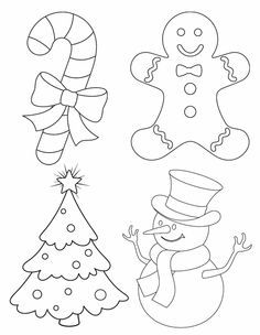 Weihnachtsfiguren: Schneemann, Lebkuchenmann, Zuckerstange, Tannenbaum