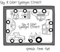 Say & Color: Antonym Avenue (FREEBIE) at Speech Time Fun. Before kids get coloring, they have to express an antonym for the words listed. Alphabet Activities, Language Activities, Speech Language Pathology, Speech And Language, Multiple Meaning Words, Synonyms And Antonyms, Nouns And Verbs, Receptive Language, Teaching Reading