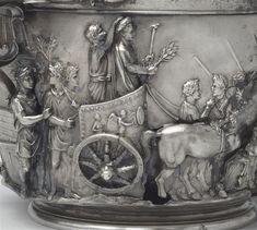 Skyphos, coupe de Boscoréale : triomphe de Tibère et scène de préparation d'un sacrifice | Aprés restauration, face A
