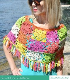 Granny Square Poncho Free Crochet Pattern with Fringe