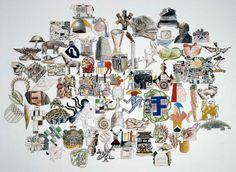 Richard Killeen painting and digital art Unity Line, 3d Artist, Looks Cool, Scribble, Amazing Art, Vintage World Maps, Digital Art, Illustration Art, Shapes
