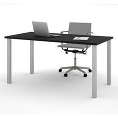 "Bestar 30"" x 60"" Table with square metal legs in Black 65865-18"