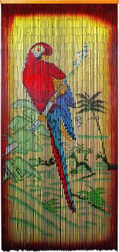 Bamboo Bead Curtain with Parrot