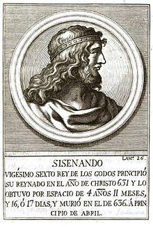 Sisenand, roi des Wisigoths d'Hispanie (631-636)- DAGOBERT 1° 3)BIOGRAPHIE. 3.3 ROI DES FRANCS, 2.:.. et continuellement dépouillés par lui. En mars 631, SISENAND, aristocrate Wsigoth, demande l'appui de Dagobert pour détrôner son rival. Dagobert lève des troupes en Bourgogne et envoie les ducs ABONDANCE et VENERANDE qui marchent jusqu'à Saragosse. Sisenand monte alors sur le trône  et offre aux envoyés de Dagobert 200.000 écus d'or, qui bénéficient à l'ABBAYE de St-DENIS.