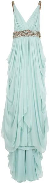 Marchesa Chiffon Plunge Emb Det Gown in Blue | Lyst. Love this Grecian style drape in white for my wedding dress