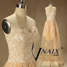 Champagne Prom Dress Sweetheart Off Shoulder See by VnaixBridal